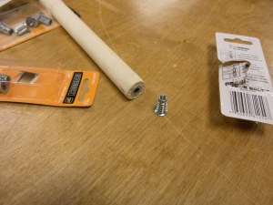 """Another trip to Home Depot yielded these spiny screw end caps that take a threaded 1/4"""" bolt."""
