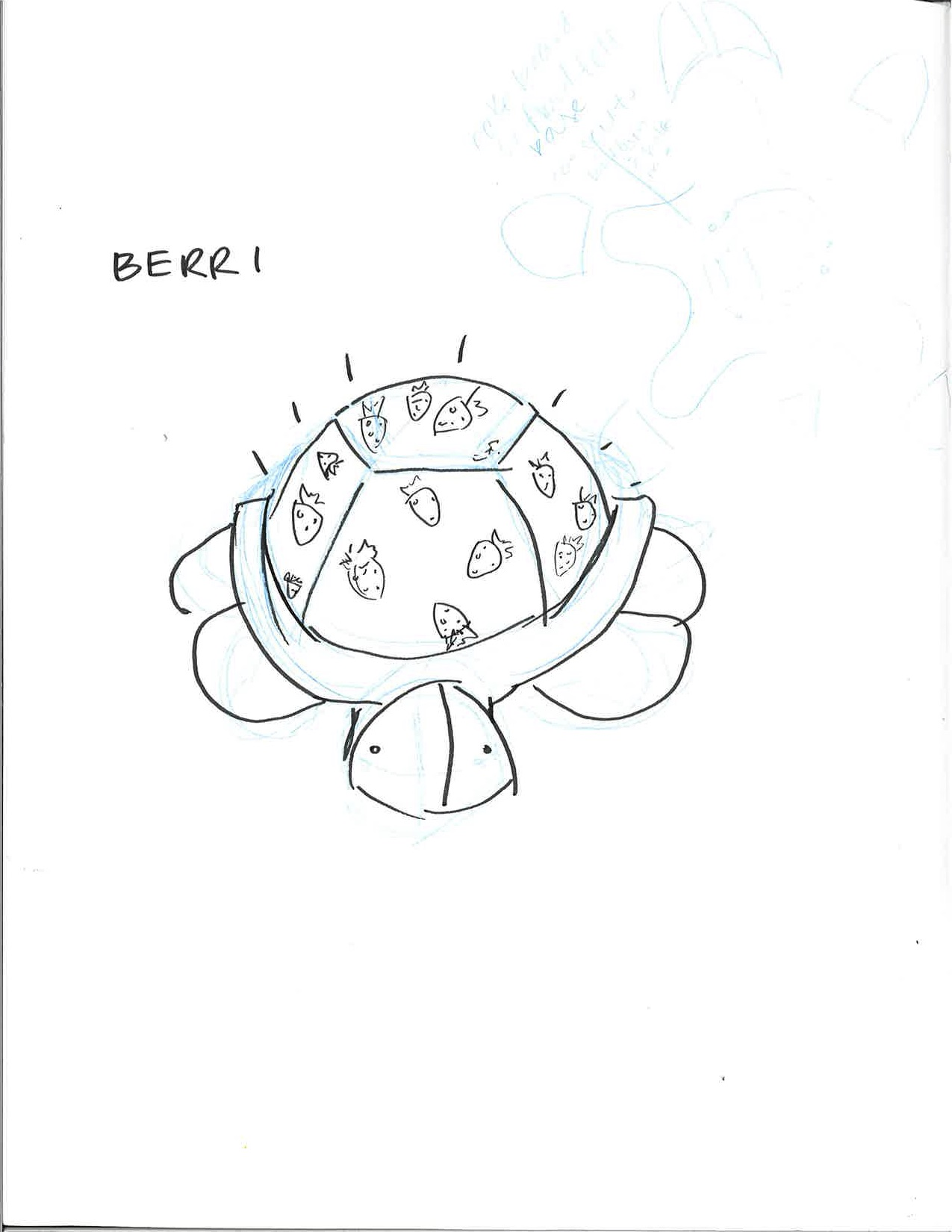 catherine stoddard page 2 making studio RGB LED Christmas initial concept sketch of berri with the glowing shell